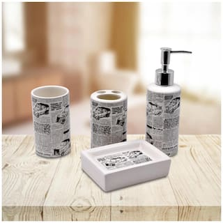 Kookee Ceramic BA Set of 4 - Soap Dispenser, Soap Dish, Tumbler & TB Holder, News Paper Print (2856)