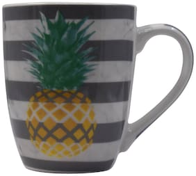 Kookee Ceramic Coffee Mug, Printed Pine Apple Stripe Print Design - 325ml (3551-A)