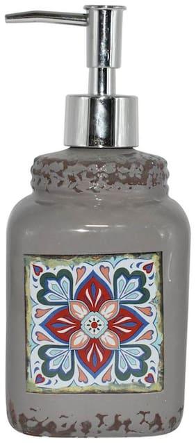 Kookee Ceramic Bathroom Liquid Soap Dispenser;Grey Print