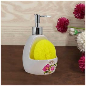 Kookee Ceramic Liquid Soap Dispenser  Pink Flower (10208-WH)