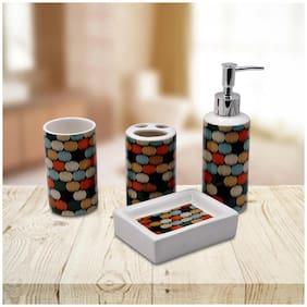 Kookee Ceramic BA Set of 4 - Soap Dispenser, Soap Dish, Tumbler & TB Holder, Abstract Print (2880)
