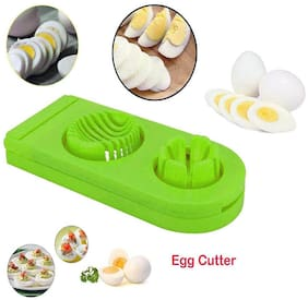 Kookee Cookstyle Kitchen Utensils 2 In 1 Boiled Egg And Salad Cutter Slicer - Green