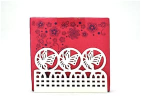 Kookee Metal Tissue Paper Holder/Stand For Dining Table;White - Fancy Design (HH-016)