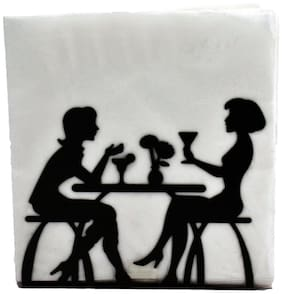 Kookee Metal Tissue Paper Holder/Stand For Dining Table;Black - Romantic Couple Design (HH-031)