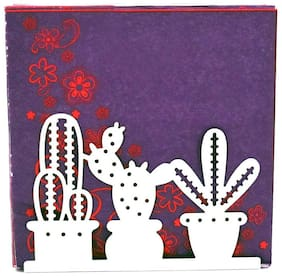 Kookee Metal Tissue Paper Holder/Stand For Dining Table;White - Cactus Design (HH-81)