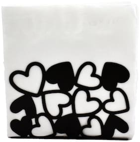 Kookee Metal Tissue Paper Holder/Stand For Dining Table;Black - Small Hearts Design (HH-078)