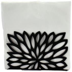 Kookee Metal Tissue Paper Holder/Stand For Dining Table;Black - Leaf Design (HH-035)