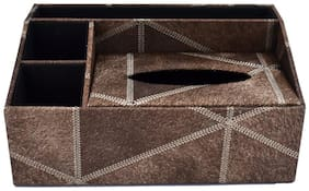 Kookee Tissue Paper Holder Box With Stationery Storage Organiser;Fabric Finish Brown
