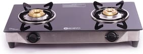 Koryo KORYO 2 Burners Stainless Steel With Glass Top Gas Stove - Black