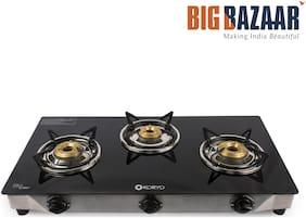 Koryo 3 Burners Stainless Steel With Glass Top Gas Stove - Black