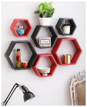 KrafstStics Classic Wooden Haxagon Wall Shelf (Number Of Shelf 6 Red Black)