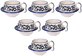 Kraftmania Ceramic Cup and Saucer Set Tea and Coffee Cups For Kitchen Serving Cup Set In 80 ml