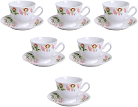 Kraftmania Ceramic Multicolor Tea And Coffee Serving Cup and Saucer