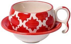 Kraftmania Tea Cups-Coffee Oval Ceramic Cup Red Set of- 6