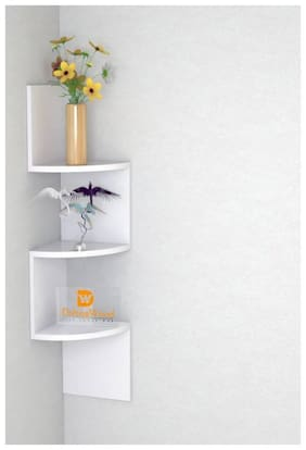 Kraftstics Beautiful Zig Zag Wooden Wall Shelf  (Number of Shelves - 3, White)