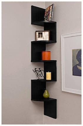 Kraftstics Beautiful Zig Zag Wall Decoretive Wooden Wall Shelf