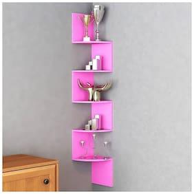 Kraftstics Corner Mount Wall Shelves Zigzag Shape Rack Wooden Wall Shelf  (Number of Shelves - 5, Pink)