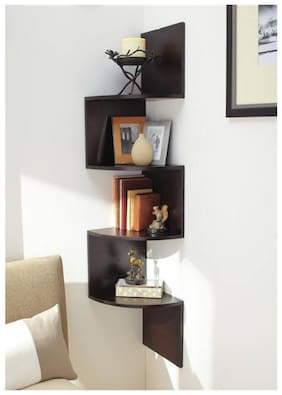 Kraftstics Creative Wooden Zig Zag Wall Shelf (Number Of Wall Shelf 4 Brown)
