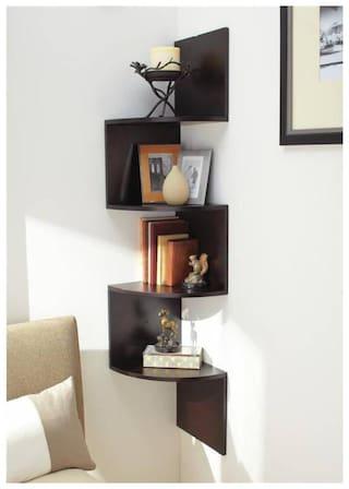 Kraftstics Creative Wooden Zig Zag Wall Shelf (Number Of Wall Shelf 4 Brown)