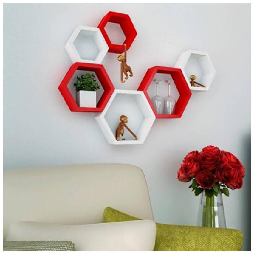 Kraftstics Furniture Wooden Wall Shelf (Number of Shelves - 6, Red, White)