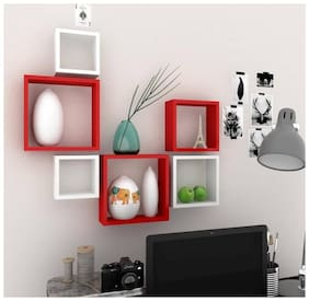 Kraftstics Furniture square wall shelf Wooden Wall Shelf  (Number of Shelves - 6, Red, White)
