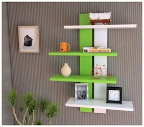 KraftStics Stylish Wooden Wall Shelf (Number Of Shelf 4 White, Green)