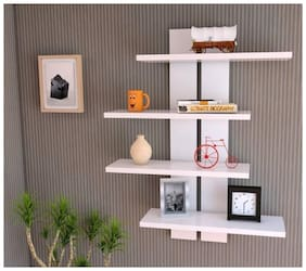 KraftStics Wooden Stylish Wall Shelf ( Number Of Shelf 4 White)