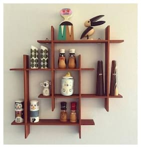 Kraftstics Wooden Elegant Wall Shelf ( Number Of Shelv 8 Brown)