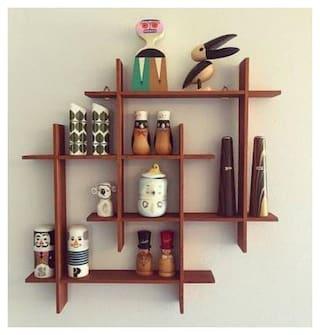 Kraftstics Wooden Elegant Wall Shelf ( Number Of Shelv 8 Brown)