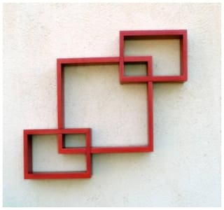 Kraftstics Wooden Attach Wall Shelf ( Number OF Shelf 3 Red )
