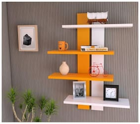 KraftStics Wooden Stylish Wall Shelf ( Number Of Shelf 4 Orange, White)