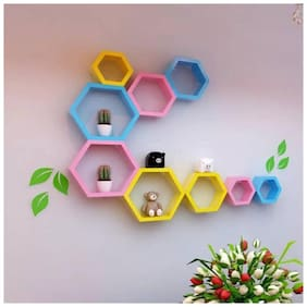 Kraftstics Wooden Haxagon Wall Shelf ( Number Of Shelf 9 Yellow, Blue, Pink)