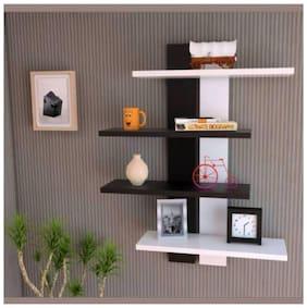 KRAFTSTICS Mdf with melamine Wall shelves ( White , Brown ,Number of Shelves- 4 )