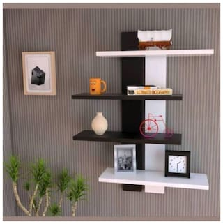 KraftStics Wooden Stylish Wall Shlef ( number Of Shelf 4 White, Brown)