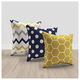Kridhay Natura Life Cotton Designer Decorative Throw Pillow Covers/Cushion Cover (16x16 inch) - Set of 3