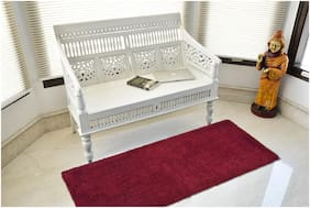 Kridhay Natura Life Micro Shag Runner Bathmat 100% Machine Washable, Soft and Anti Skid bathmat. 55 X 140 cm Maroon