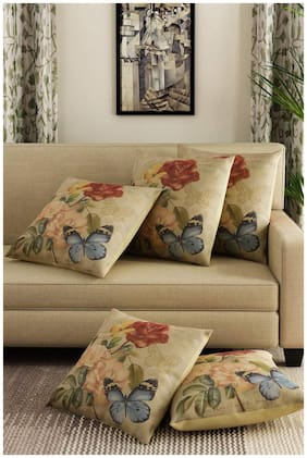 Kridhay Natura Life Cotton Multi Colored Decorative Hand Made Cotton Pillow/Cushion Covers 16 inch x 16 inch (40cm x 40cm) -Set of 5