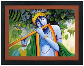 Krishna Textured Uv Effect With Acrylic Glass Ink Painting - Abstract Modern Art Home Wall De cor Hangings Gift Items