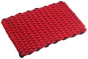 Kritarth Handicrafts Checked Design Cotton Medium Size Door Or bath Mat Red