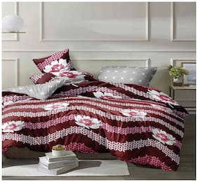 KRITARTH HANDICRAFTS Poly cotton Floral Queen Size Comforter Red