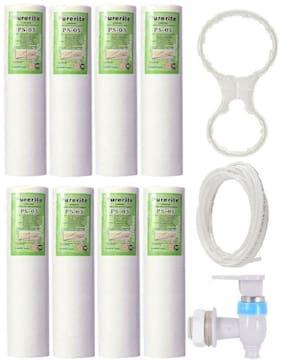 KRPLUS Purerite PP/Spun Filter Cartridge 10 Inch + 2 Meter Pipe + RO Tap + Spanner Key