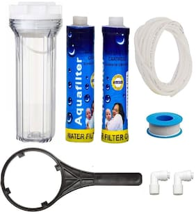 Krplus Transparent Pre Filter Crystal Housing Bowl Kit With 2 Pcs Of 9 Mlt Thread Candles Compatible With All Types Of Ro/Uv/Uf Water Purifiers