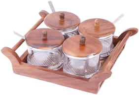 Kryta New Collection Crockery & Scientific Stores Pickle Jar Set of 4 Non breakable Pieces with Wooden Tray Pickle Set