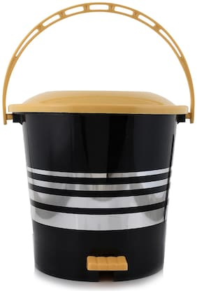 Kuber Industries Plastic Dustbin Garbage Bin with Handle;5 L (Yellow) - CTHH17345