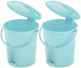 Kuber Industries 2 pcs Plastic Dustbin Garbage Bin with Handle;10 L (Light Green) - CTHH16374