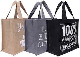 Kuber Industries 3 pcs Men's and Women's Reusable Eco-Friendly Multipurpose Jute Hand Bag (Brown;Grey & Black) - CTHH11259