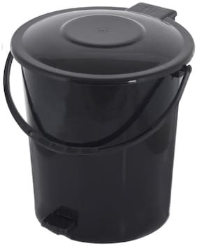 Kuber Industries Plastic Dustbin Garbage Bin with Handle;10 L (Black) - CTHH16353