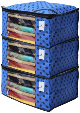 Kuber Industries 3 pc Non Woven Saree Cover Set;Royal Blue;CTHH11696