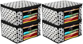 Kuber Industries Polka Dots Design 4 pc Non Woven Fabric Saree Cover/ Clothes Organiser For Wardrobe Set with Transparent Window;Extra Large;(Black & White) - CTHH17477