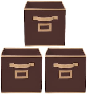 Kuber Industries Non Woven 3 pcs Small Foldable Storage Organiser Cubes/Boxes (Coffee) - CTHH16853